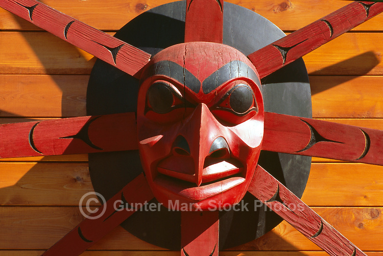 Cherry Point Vineyards, Cobble Hill, Cowichan Valley, Vancouver Island, BC, British Columbia, Canada - a Cowichan First Nations Vineyard and Winery - Native Indian Sun Mask Carving