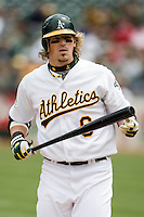 6 April 2008: A's #6 Travis Buck watches a coach during the Cleveland Indians 2-1 victory over the Oakland Athletics at the McAfee Coliseum in Oakland, CA.