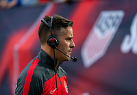 NASHVILLE, TN - SEPTEMBER 5: John Herdman of the Canada is interviewed by the media during a game between Canada and USMNT at Nissan Stadium on September 5, 2021 in Nashville, Tennessee.