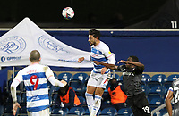 Macauley Bonne of Queens Park Rangers and Wes Harding of Rotherham United go up for a header during Queens Park Rangers vs Rotherham United, Sky Bet EFL Championship Football at The Kiyan Prince Foundation Stadium on 24th November 2020