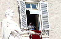 Pope Francis recites the Sunday Angelus noon prayer from the window of his studio overlooking St.Peter's Square, at the Vatican, Sunday, September13, 2020.<br /> UPDATE IMAGES PRESS/Isabella Bonotto<br /> <br /> STRICTLY ONLY FOR EDITORIAL USE