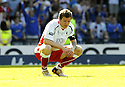 30/05/2009  Copyright  Pic : James Stewart.sct_jspa_20_rangers_v_falkirk.FALKIRK'S DARREN BARR IS DEJECTED AT THE END OF THE GAME.James Stewart Photography 19 Carronlea Drive, Falkirk. FK2 8DN      Vat Reg No. 607 6932 25.Telephone      : +44 (0)1324 570291 .Mobile              : +44 (0)7721 416997.E-mail  :  jim@jspa.co.uk.If you require further information then contact Jim Stewart on any of the numbers above.........