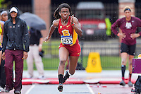 Alexis Faulknor of USC competes in first round of long jump during West Preliminary Track & Field Championships at John McDonnell Field, Thursday, May 29, 2014 in Fayetteville, Ark. (Mo Khursheed/TFV Media via AP Images)