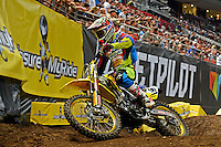 Kale Makeham / Suzuki<br /> 2015 Round 5 / Class : SX1<br /> Australian Supercross Championship / AUS-X Open<br /> Sydney NSW Saturday 28 November 2015<br /> © Sport the library / Jeff Crow
