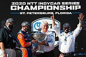 Champion #9 Scott Dixon, Chip Ganassi Racing Honda with Chip Ganassi, William Croxville of NTT Data and Mark Miles
