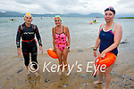 Just out of the water after their swim from Derrymore to Fenit on Saturday morning. L to r: Margaret Gilbert, Maura Hayes and Mary Fitzmaurice