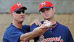 9 April 2008: Pitching coach Derek Botelho, left, instructs RHP Michael Nix of the Mississippi Braves, Class AA affiliate of the Atlanta Braves, prior to the season's home opener against the Mobile BayBears at Trustmark Park in Pearl, Miss. Photo by:  Tom Priddy/Four Seam Images Botelho, Derek 8742(Priddy).jpg