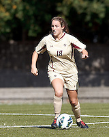 Boston College midfielder Patrice Vettori (18) looks to pass..After two overtime periods, Boston College (gold) tied University of Miami (orange), 0-0, at Newton Campus Field, October 21, 2012.