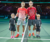 Rotterdam, The Netherlands, Februari 8, 2016,  ABNAMROWTT, escorts with Coric and the Bakker (R)<br /> Photo: Tennisimages/Henk Koster