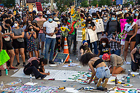 Protesters decorate signs during a march against police brutality and racism in Washington, D.C. on Saturday, June 6, 2020.<br /> Credit: Amanda Andrade-Rhoades / CNP/AdMedia