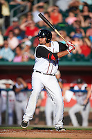 Lansing Lugnuts first baseman Rowdy Tellez (44) at bat during a game against the Peoria Chiefs on June 6, 2015 at Cooley Law School Stadium in Lansing, Michigan.  Lansing defeated Peoria 6-2.  (Mike Janes/Four Seam Images)
