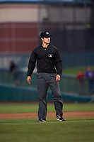Field umpire Zach Neff during a California League game between the Visalia Rawhide and the Lancaster JetHawks at The Hangar on May 17, 2018 in Lancaster, California. Lancaster defeated Visalia 11-9. (Zachary Lucy/Four Seam Images)