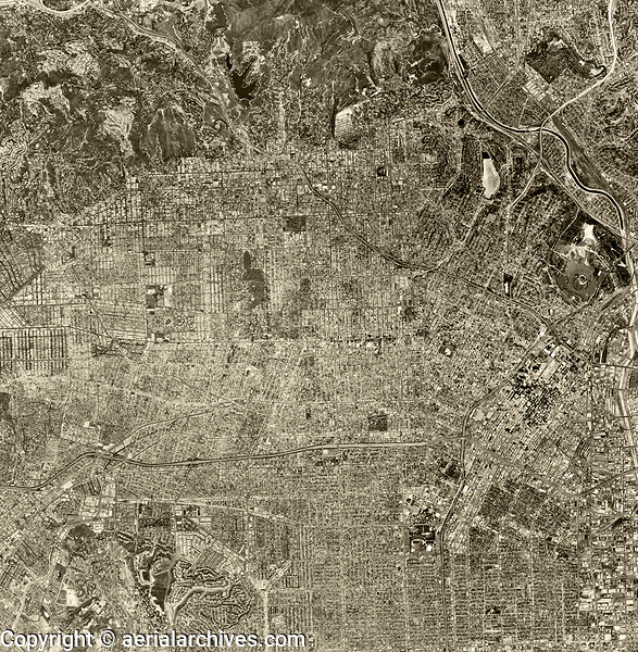 historical aerial photograph of Los Angeles, 1976