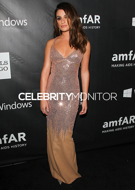 HOLLYWOOD, LOS ANGELES, CA, USA - OCTOBER 29: Lea Michele arrives at the 2014 amfAR LA Inspiration Gala at Milk Studios on October 29, 2014 in Hollywood, Los Angeles, California, United States. (Photo by Celebrity Monitor)