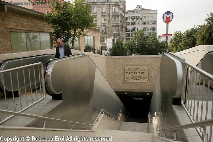 The new metro stop at Sishane in Beyoglu, Istanbul, Turkey