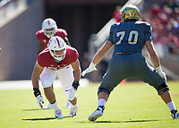 STANFORD, CA - September 15, 2018: Casey Toohill at Stanford Stadium. The Stanford Cardinal defeated UC Davis, 30-10.