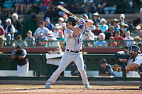 Salt River Rafters right fielder Sam Hilliard (14), of the Colorado Rockies organization, at bat in front of catcher Joe DeCarlo (4) during the Arizona Fall League Championship Game against the Peoria Javelinas at Scottsdale Stadium on November 17, 2018 in Scottsdale, Arizona. Peoria defeated Salt River 3-2 in 10 innings. (Zachary Lucy/Four Seam Images)