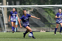 Ashley Blaka #33 of Holy Cross brings the ball forward during a game between Holy Cross and Boston College at Newton Campus Soccer Field on September 12, 2021 in Newton, Massachusetts.