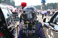 Aug. 1, 2014; Kent, WA, USA; NHRA funny car driver Alexis DeJoria during qualifying for the Northwest Nationals at Pacific Raceways. Mandatory Credit: Mark J. Rebilas-