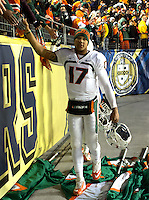 Miami quarterback Stephen Morris shakes hands with the fans after the win. The Miami Hurricanes defeated the Pitt Panthers 41-31 at Heinz Field, Pittsburgh, Pennsylvania on November 29, 2013.