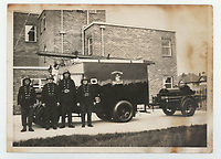 BNPS.co.uk (01202 558833)<br /> Pic: Lockdales/BNPS<br /> <br /> Pictured: Fire fighters in the 1940s. <br /> <br /> The bravery medal awarded to a hero Blitz firefighter who 'ran through a wall of flames' during a dramatic rescue has emerged for sale for £4,000.<br /> <br /> Company Officer John Cornford and his station officer risked their lives to save a man collapsed on a pavement between blazing street warehouses.<br /> <br /> They dodged falling debris to carry the injured man to safety following the German bombing of London.<br /> <br /> C/Off Cornford, of the London County Council Fire Brigade, received the George Medal for gallantry for his life-saving exploits during the December 29, 1940 incident.