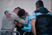 Belgian National coach Kevin De Weert hugging Brent Van Moer (BEL/Lotto-Soudal) after winning the silver medal<br /> <br /> MEN UNDER 23 INDIVIDUAL TIME TRIAL<br /> Hall-Wattens to Innsbruck: 27.8 km<br /> <br /> UCI 2018 Road World Championships<br /> Innsbruck - Tirol / Austria
