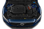 Car Stock 2021 Volvo V60 R-Design 5 Door Wagon Engine  high angle detail view