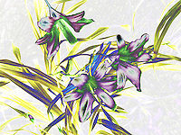 Lilies with stain glass style rendering