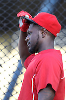 Brandon Phillips #4 of the Cincinnati Reds before a game against the Los Angeles Dodgers at Dodger Stadium on July 3, 2012 in Los Angeles, California. Los Angeles defeated Cincinnati 3-1. (Larry Goren/Four Seam Images)