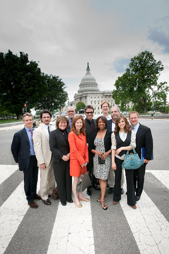 The Creative Coalition in Washington, D.C. (L to R) Linus Roache, Matthew Settle, Robin Goldberg, Barry Levinson, Dana Delany, Alfre Woodard. Matthew Modine, Tom Fontana, Rachael Leigh Cook and Aric Ackerman.