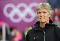 Glasgow, Scotland - Saturday, July 28, 2012:  Head coach Pia Sundhage of the USA Women's soccer team before a 3-0 win over Colombia in the first round of the Olympic football tournament at Hamden Park.