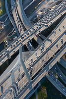 aerial view of traffic near Zakim Bridge,  Boston, MA Charles River crossing