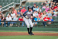 Mitch Roman (10) of the Kannapolis Intimidators takes his lead off of first base against the Hickory Crawdads at Kannapolis Intimidators Stadium on April 21, 2017 in Kannapolis, North Carolina.  (Brian Westerholt/Four Seam Images)
