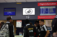 Wednesday 07 August 2013<br /> Pictured: Flight information screens at Cardiff Airport.<br /> Re: Swansea City FC travelling to Sweden for their Europa League 3rd Qualifying Round, Second Leg game against Malmo.