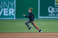 Batavia Muckdogs young fan participates in an on field base race promotion during a NY-Penn League game against the Auburn Doubledays on June 14, 2019 at Dwyer Stadium in Batavia, New York.  Batavia defeated 2-0.  (Mike Janes/Four Seam Images)