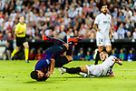 Jose Luis Gaya of Valencia CF (R) trips up with Luis Suarez of FC Barcelona (L) during their La Liga 2018-19 match between Valencia CF and FC Barcelona at Estadio de Mestalla on October 07 2018 in Valencia, Spain. Photo by Maria Jose Segovia Carmona / Power Sport Images