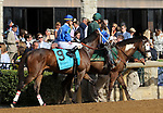 LEXINGTON, KY - APR 21: Bullards Alley (Corey Lanerie) in the post parade of the G2 Dixiana Elkhorn Stakes at Keeneland, Lexington, Kentucky. Owner Wayne Spalding and Faron McCubbins, trainer Timothy D. Glyshaw. By Flower Alley x Flower Forest, by Kris S. (Photo by Mary M. Meek/Eclipse Sportswire/Getty Images)