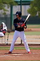 AZL Indians Blue Max Moroff (1) at bat during a rehab assignment in an Arizona League game against the AZL Indians Red on July 7, 2019 at the Cleveland Indians Spring Training Complex in Goodyear, Arizona. The AZL Indians Blue defeated the AZL Indians Red 5-4. (Zachary Lucy/Four Seam Images)