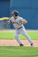 Connecticut Tigers pinch runner Garrett Mattlage (1) leads off second during the second game of a doubleheader against the Batavia Muckdogs on July 20, 2014 at Dwyer Stadium in Batavia, New York.  Connecticut defeated Batavia 2-0.  (Mike Janes/Four Seam Images)