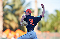 Detroit Tigers relief pitcher Nolan Blackwood (91) delivers a pitch during a Grapefruit League Spring Training game against the Baltimore Orioles on March 3, 2019 at Ed Smith Stadium in Sarasota, Florida.  Baltimore defeated Detroit 7-5.  (Mike Janes/Four Seam Images)