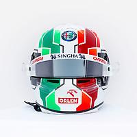26th March 2021; Sakhir, Bahrain; F1 Grand Prix of Bahrain, Free Practice sessions;  GIOVINAZZI Antonio (ita), Alfa Romeo Racing ORLEN C41 helmet on display during Formula 1 Gulf Air Bahrain Grand Prix
