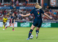 HOUSTON, TX - JUNE 13: Samantha Mewis #3 of the USWNT dribbles during a game between Jamaica and USWNT at BBVA Stadium on June 13, 2021 in Houston, Texas.
