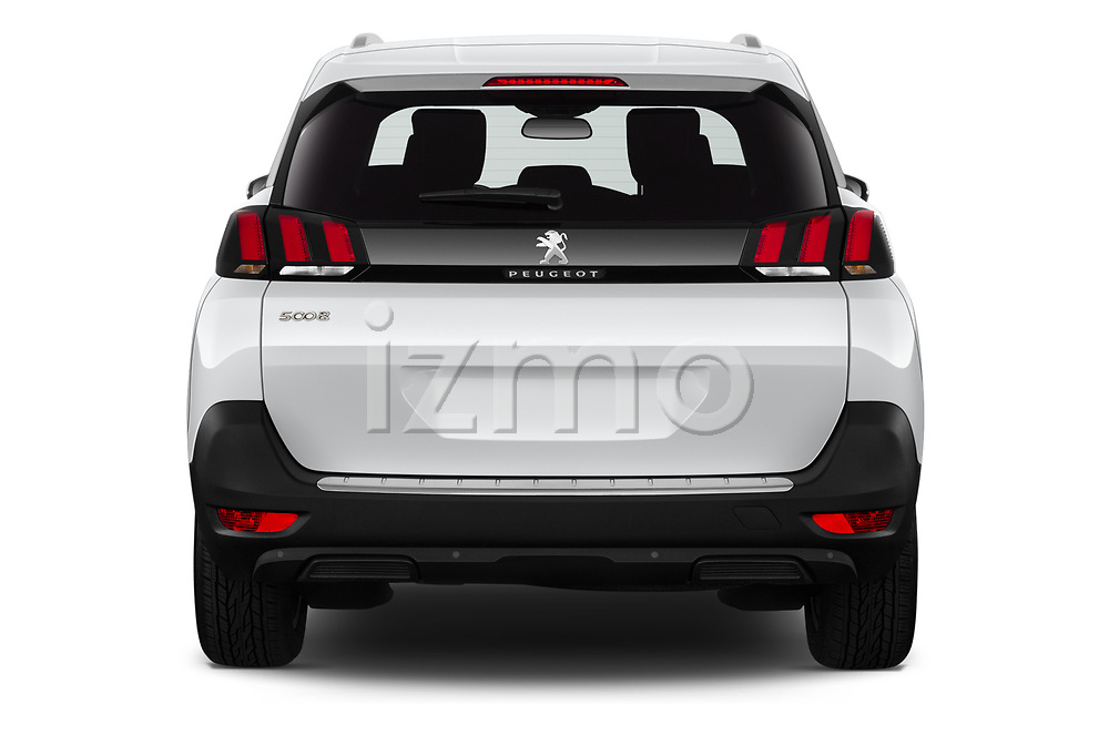Straight rear view of 2019 Peugeot 5008 Allure 5 Door SUV Rear View  stock images