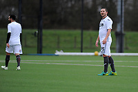 Pictured: Chris Barney. Wednesday 13 December 2018<br /> Re: Coaching staff v Members of the press game at the Fairwood Training Ground, Wales, UK.