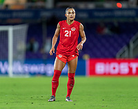 ORLANDO, FL - FEBRUARY 21: Jordyn Listro #21 of Canada looks to the ball during a game between Canada and Argentina at Exploria Stadium on February 21, 2021 in Orlando, Florida.