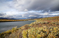 The evening sun illuminates the Brooks and the the Sheenjek River near Kuirzinjik Lake (Lobo Lake) in Alaska's Arctic National Wildlife Refuge in late August.