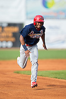 Magneuris Sierra (37) of the Johnson City Cardinals hustles towards third base against the Bristol Pirates at Boyce Cox Field on July 7, 2015 in Bristol, Virginia.  The Cardinals defeated the Pirates 4-1 in game one of a double-header. (Brian Westerholt/Four Seam Images)