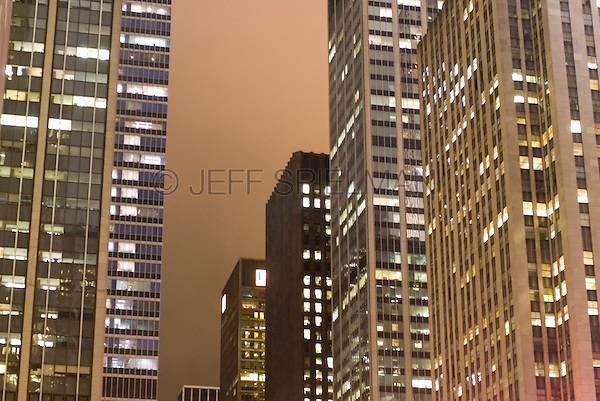 Illuminated Office Buildings on an Overcast Night, 6th Avenue (Avenue of the Americas),  New York City, New York State, USA
