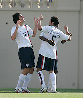 Sacha Kljestan, Benny Feilhaber, and DaMarcus Beasley celebrate. The USA defeated China, 4-1, in an international friendly at Spartan Stadium, San Jose, CA on June 2, 2007.