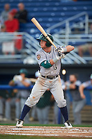 Vermont Lake Monsters second baseman Trace Loehr (6) at bat during the second game of a doubleheader against the Batavia Muckdogs August 11, 2015 at Dwyer Stadium in Batavia, New York.  Batavia defeated Vermont 1-0.  (Mike Janes/Four Seam Images)